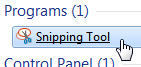 Open the Windows 7 snipping tool for small screenshots