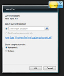 Options dialog for weather gadget settings in Windows 7
