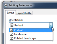 Paper orientation options in Windows 7 - Landscape or portrait printing
