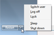 Power Button options in the Windows 7 start menu