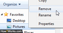 Remove a Favorite folder from the Windows Explorer Navigation Pane
