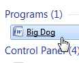 Renamed program shortcut in the Windows 7 start menu