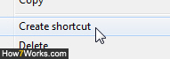 Right-click to create a folder shortcut