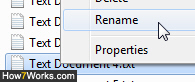 Right-click to rename a file in Windows 7