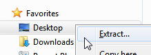 Right-click and drag the zipped compressed folder to extract its files in Windows 7