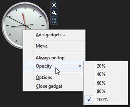 Right-click on a gadget to access its opacity/transparency settings