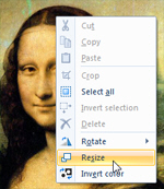 Right-click to resize an image in Paint for Windows 7