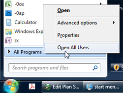 Right-click to show the All Users start menu in Windows Explorer