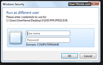 Run a program as a different user in Windows 7