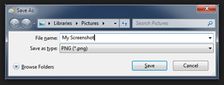 Save a screenshot as a PNG image file on your computer