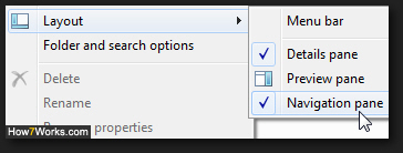 Show or hide or Navigation Pane in Explorer for Windows 7