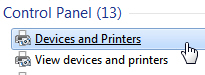 Show devices and printers in the start menu in Windows 7
