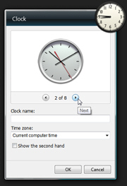 Show options for the clock gadget