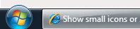 Small icons in the Windows 7 taskbar