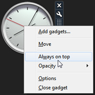 Tell Windows 7 to always keep a gadget on top of other programs