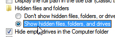 Tell Windows 7 to show you hidden files, folders, and drives