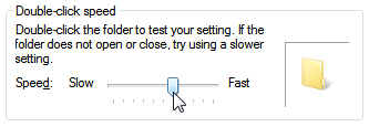 Test your double-click settings in Windows 7 Mouse Properties dialog