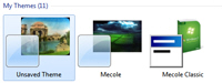 The Control Panel contains the same My Themes as the Theme Folder in Windows 7