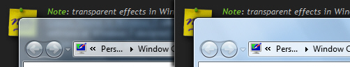 Transparent and opaque settings in Windows 7