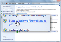 Turn on or turn off the Windows Firewall in Windows 7