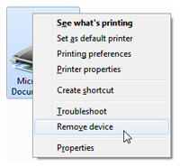 Uninstall printers or print drivers from your computer in Windows 7