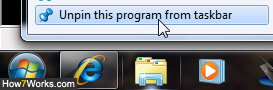 Unpin and remove Explorer from the taskbar in Windows 7