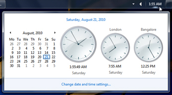Using multiple clocks and several time zones in Windows 7 notification area
