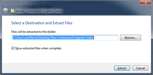 Windows 7 Extract compressed files from zipped folder wizard