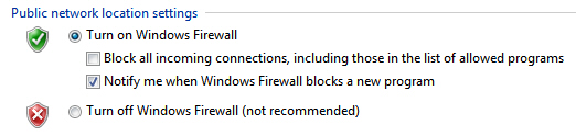 Windows 7 Firewall settings for private and public networks