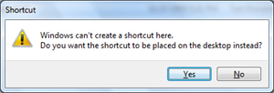 Windows 7 asking confirmation to create shortcuts on the desktop