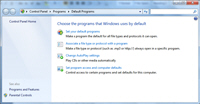 Windows 7 default programs in the Control Panel