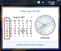 Change the first day of the week (when weeks start) in Windows 7