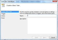Windows 7 launches the Basic Task Scheduler
