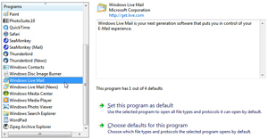 Windows Live Mail in the default programs listing for Windows 7