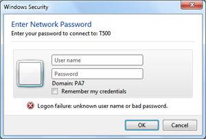 Windows Security network authentication error message in Windows 7
