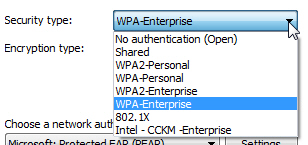 Wireless network security type for Windows 7 computers