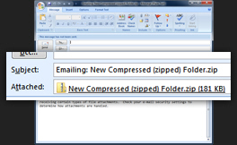 Zipped file / compressed folder as email attachment in Microsoft Outlook 2007