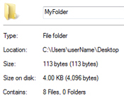 File count and folder count summary in Windows 7