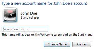 Rename user account name in Windows 7