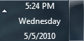 System clock in taskbar in Windows 7