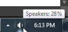 Volume icon (sound speakers) in Windows 7 taskbar