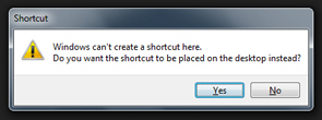 Confirm you want to create a shortcut on the desktop