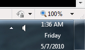 Show the date next to the time in Windows 7