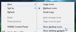 Show desktop icons in Windows 7
