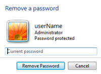 Remove a user account password in Windows 7