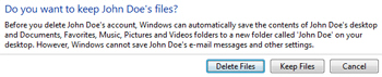 Delete Windows profile and keep or remove user files