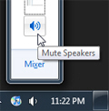 Mute volume by clicking the mixer's speaker button