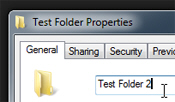 Rename a folder through its Properties in Windows 7