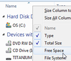 Show disk space information in Windows Explorer