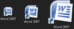 Small, medium, and large desktop icon in Windows 7